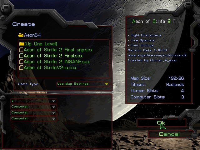 The Starcraft map selection menu, showing several available Aeon of Strife maps, including a brief description of the one and its author
