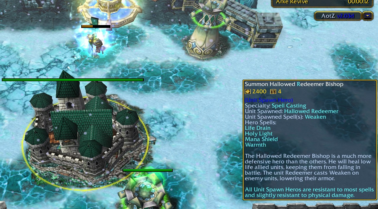 Picture of a Hallowed Order base, with green, grey, and cyan colours. A tooltip appears in a similar colour scheme