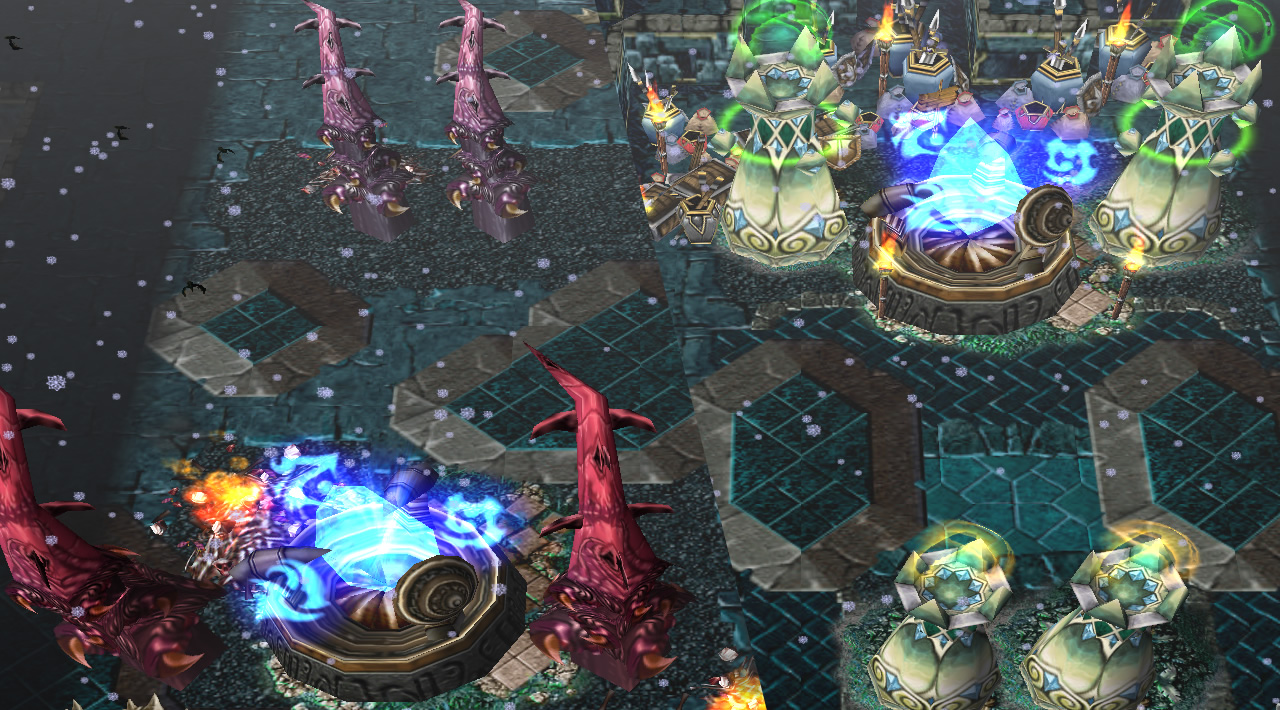 Shows a split-screen with both Power Plants. Each is defended by four towers