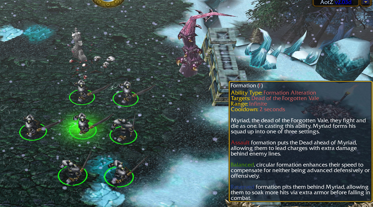 Seven skeletal swordsmen stand in formation. A tooltip describes the three available formations and their bonuses: Assault adds damage, Balanced adds speed, Reserved adds armour