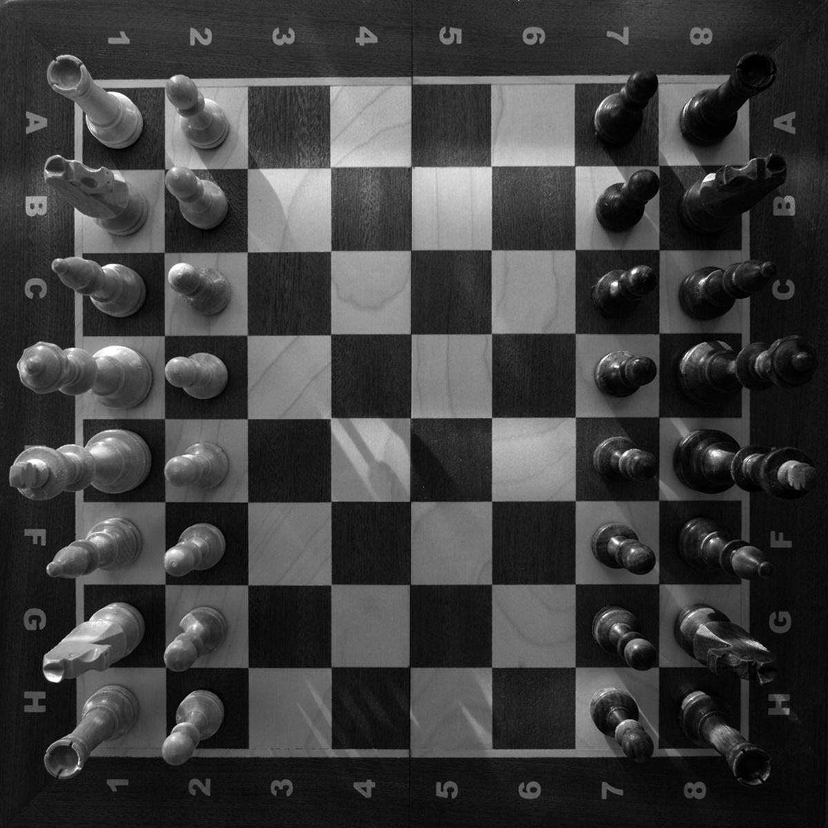 Overhead view of a chess set