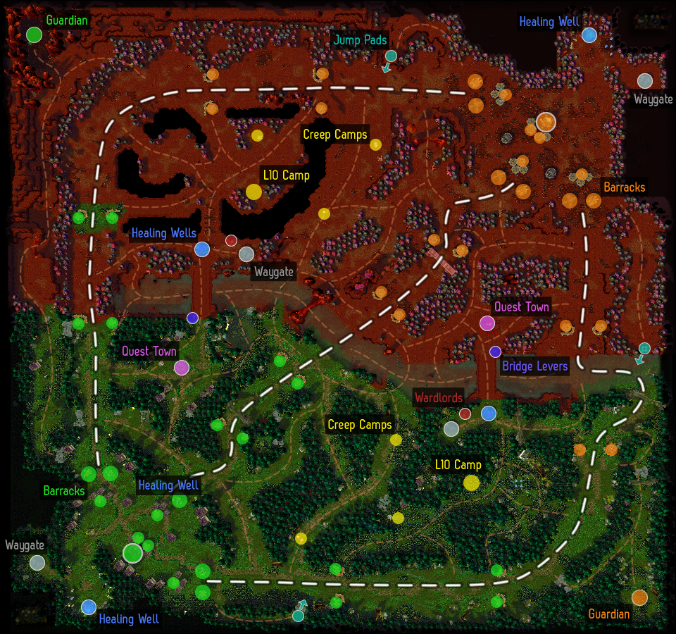 Bird's eye view of the DotA Outland map