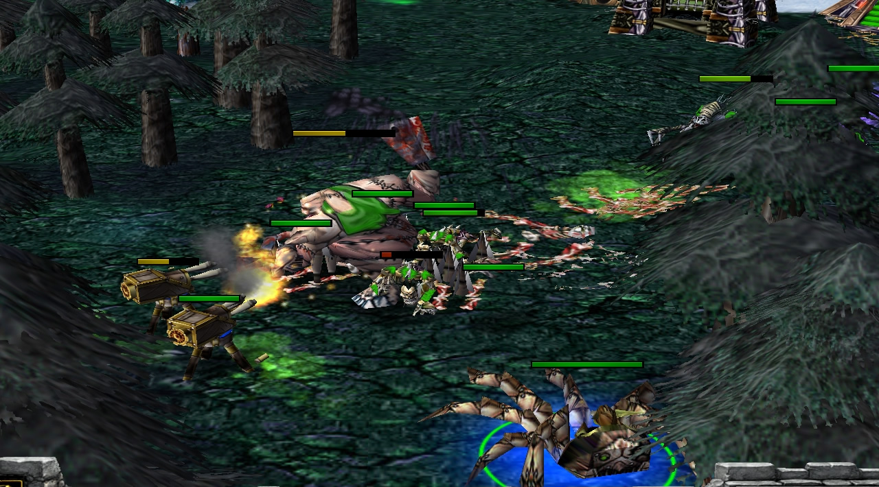 A mechanical spider houses a goblin, who looks on as spikes burst from the ground and damage various undead units trying to approach