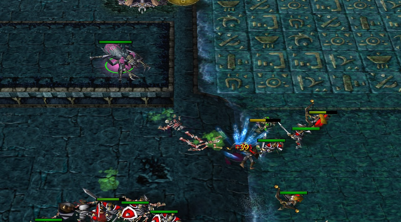 A spider hero is on a raised wall platform, with no path by which to leave it. Below, troops are clashing, still within the spider's attack range