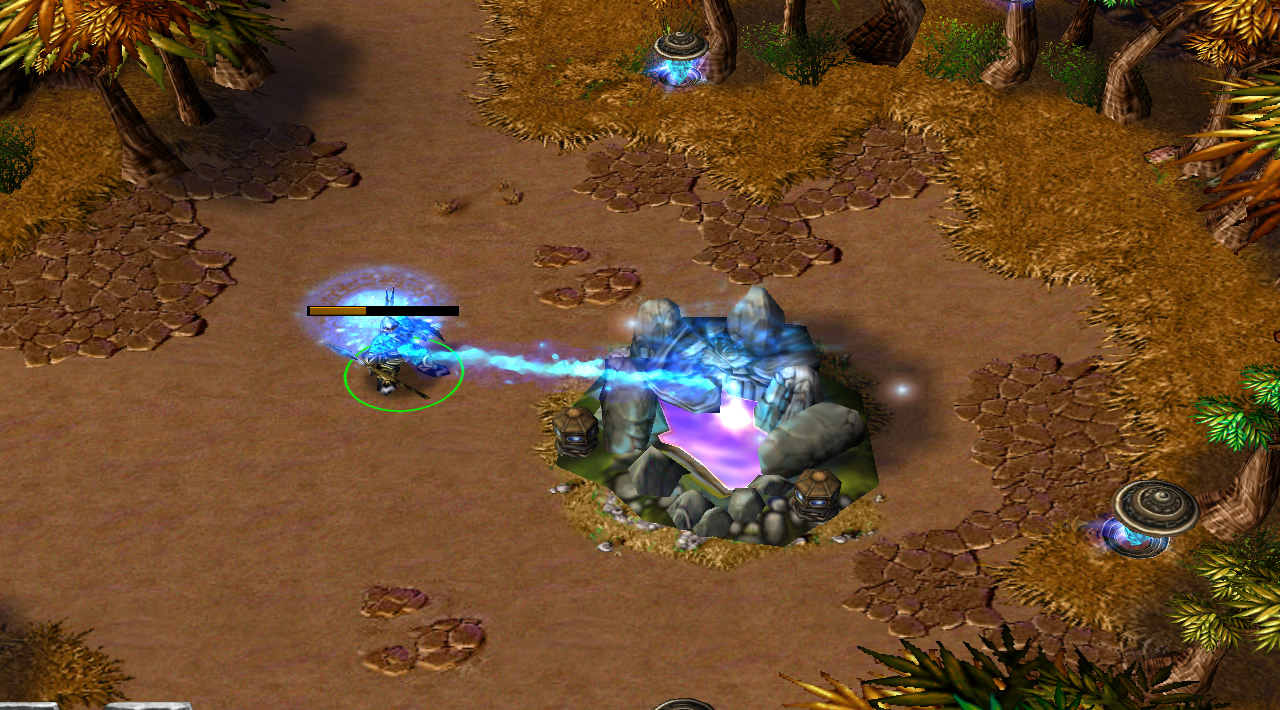 A hero stands in a mostly open area beside a healing fountain. A graphic connects the fountain to the hero, and shows blue energy moving in the hero's direction