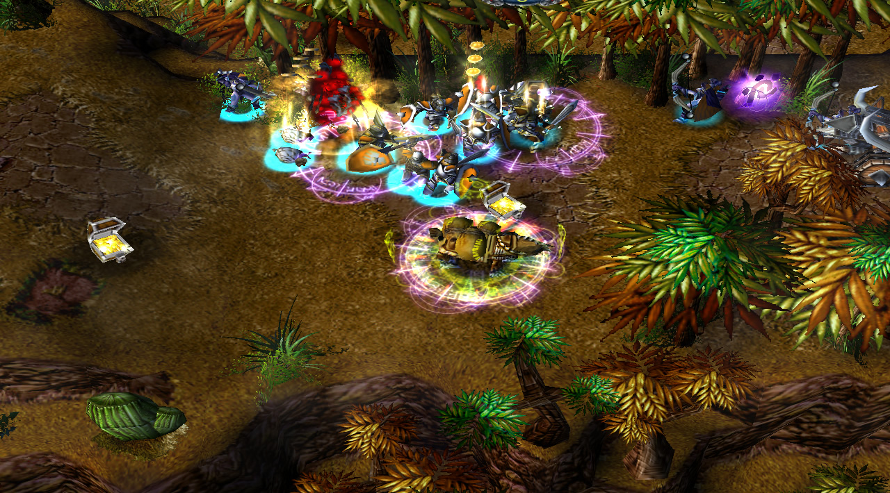 A pack horse sits on-lane with lots of aura indicators beneath it. Nearby troops have a strong blue glow beneath them, showing they are affected by many auras
