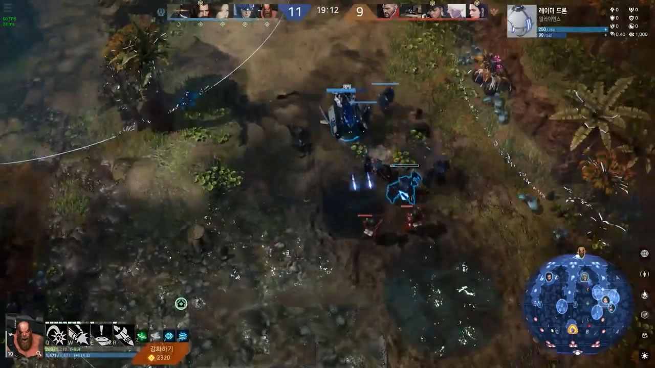 Heroes laning in a river environment, with minimap showing lanes 1, 2, and 3