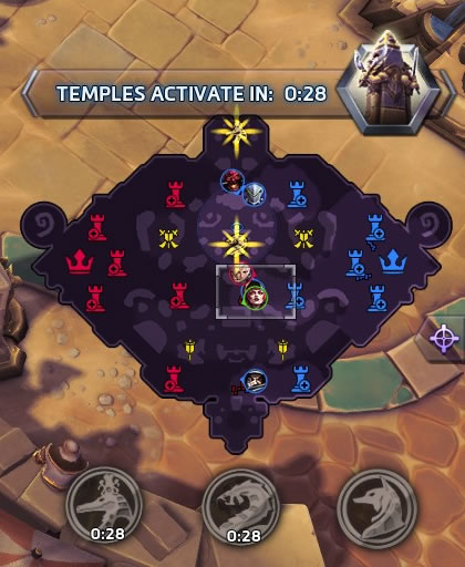 The minimap in Heroes of the Storm, showing a warning that Temples activate in 0:28