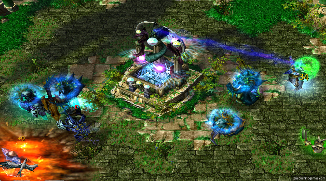 A tall naga-themed building is in the middle of an open area, with a nearby hero channelling towards it represented by a beam