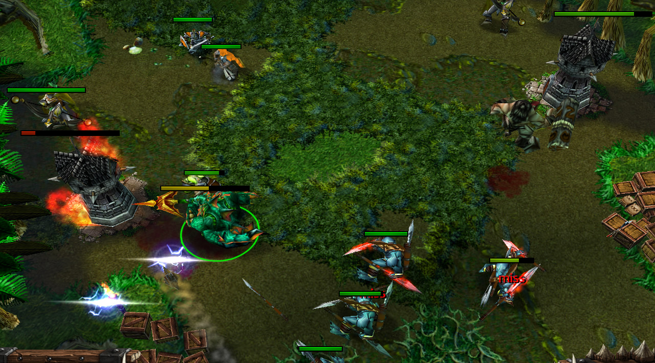 A naga hero leads a line of troll berserkers to attack an enemy tower