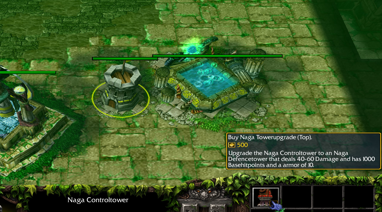 A small stone tower is placed beside some naga-themed buildings. A tooltip describes being able to upgrade the tower