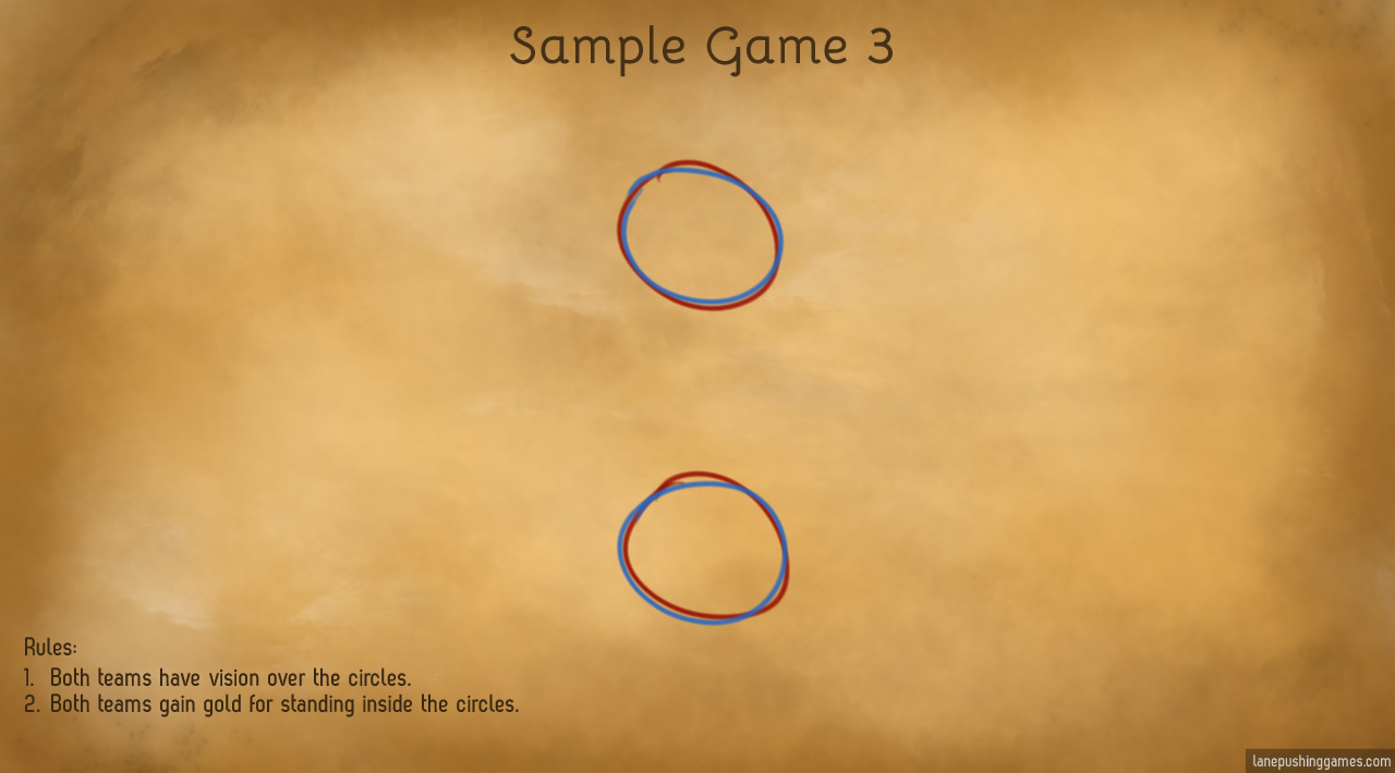 The sample map now has only two areas marked: each with a red circle and a blue circle