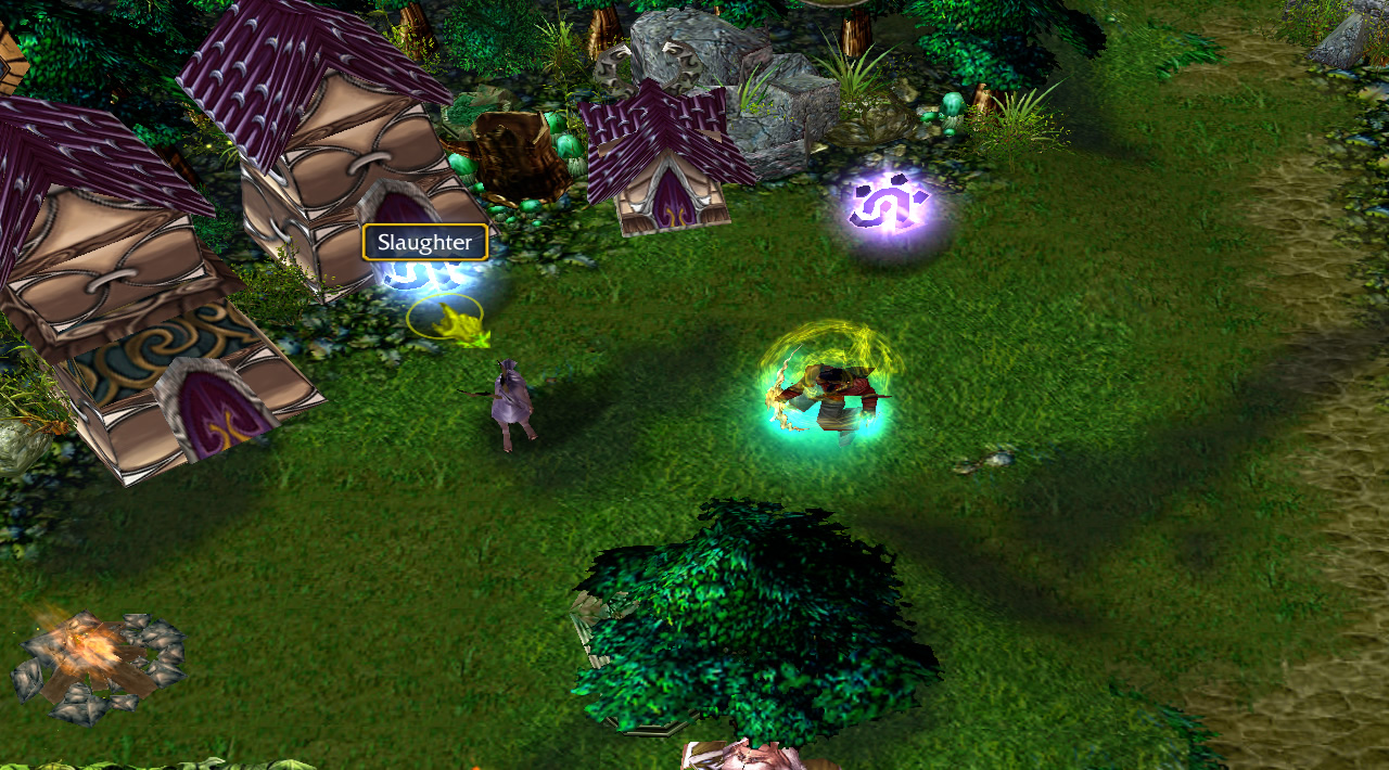 A hero is in a night elf village area, with the cursor over one of several glowing runes that can be picked up. This one reads 'Slaughter'.