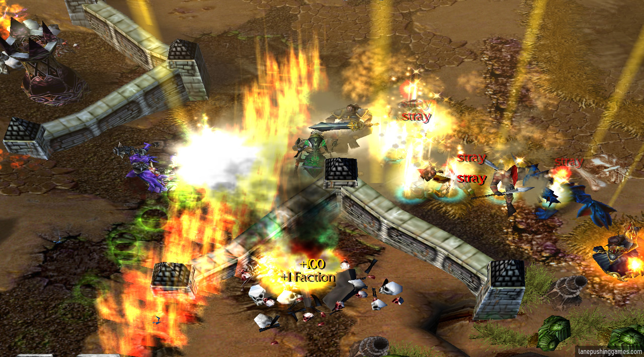 The text '+1 Faction' appears as a tower explodes, surrounded by fire and beams of light as the Hallowed Order push past the walls into an enemy base