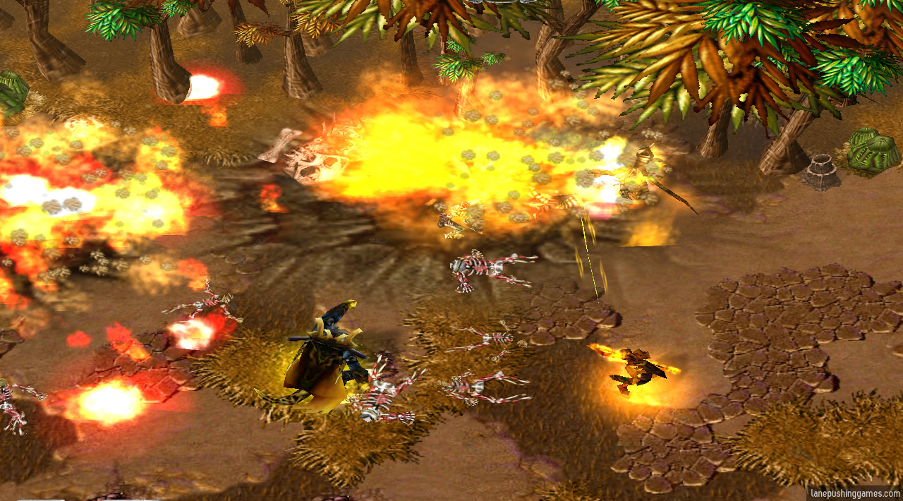 Fire, explosions, and meteors cover half the screen while two orange-glowing heroes make attack gestures