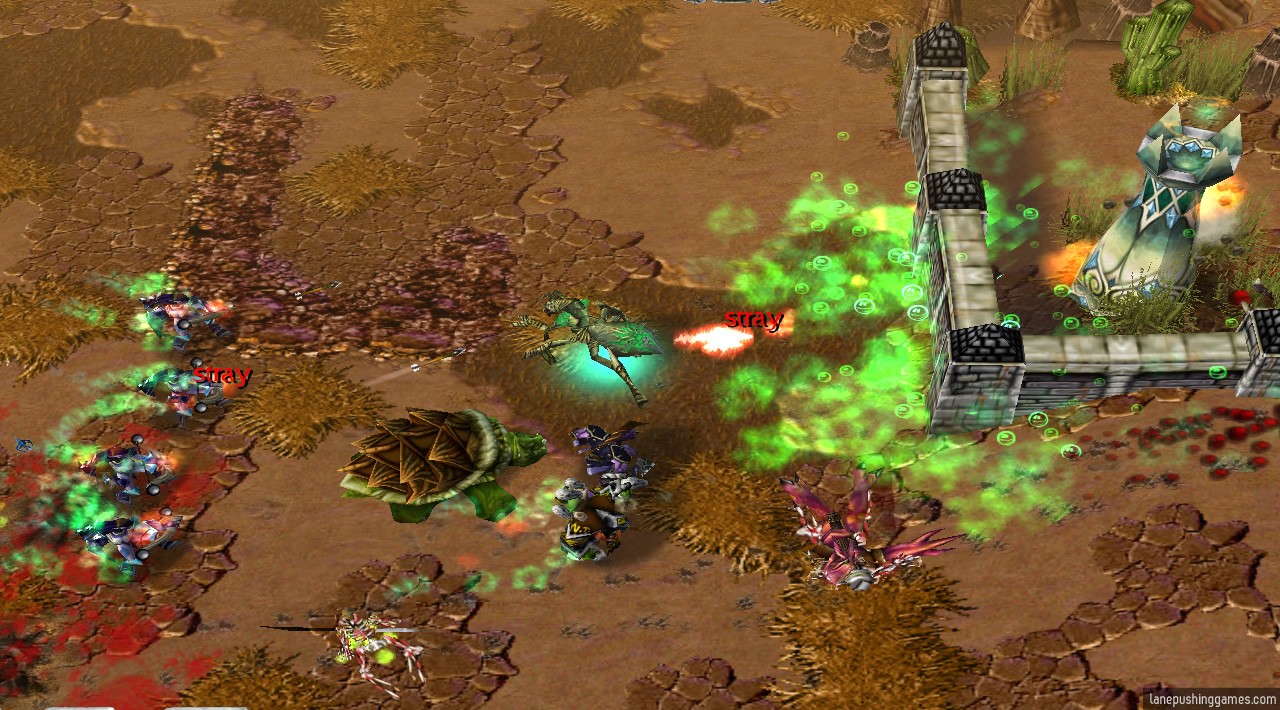 Several spider-like creatures attack a tower from a long distance, while other troops and heroes provide support