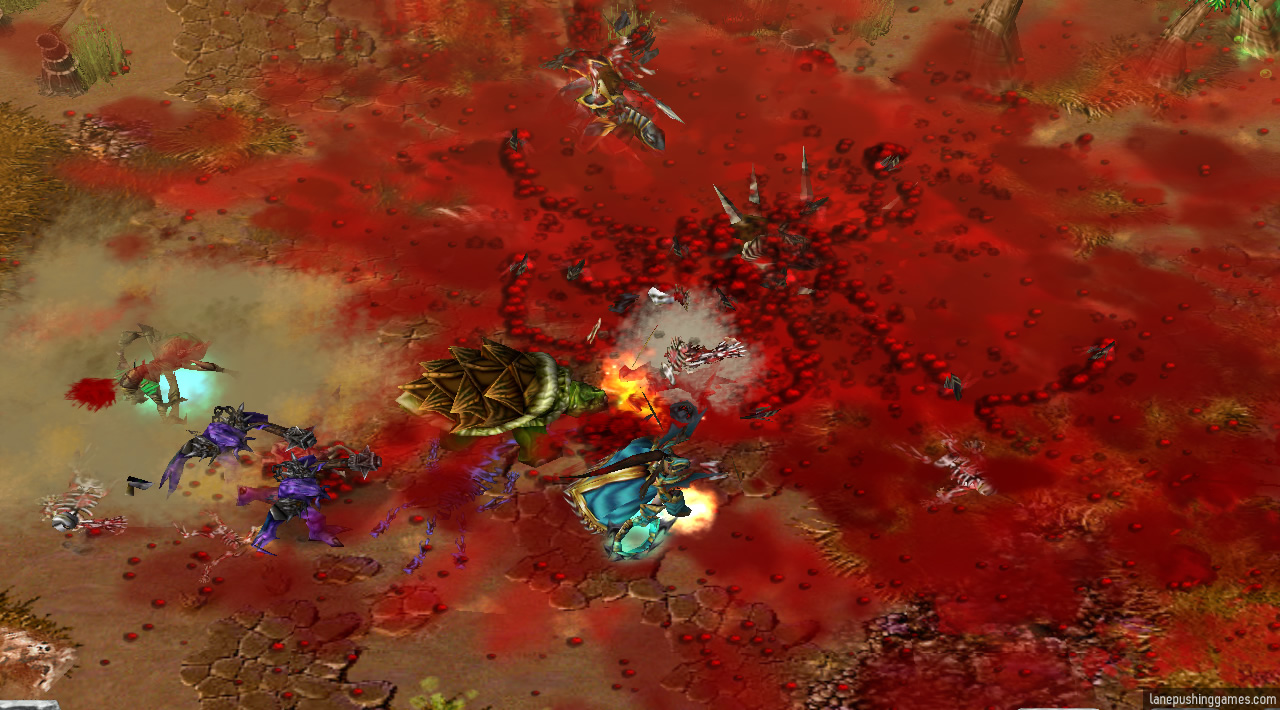 80% of the ground is plastered with varying shades of bloody red, while fresh explosions of guts continue to rain more