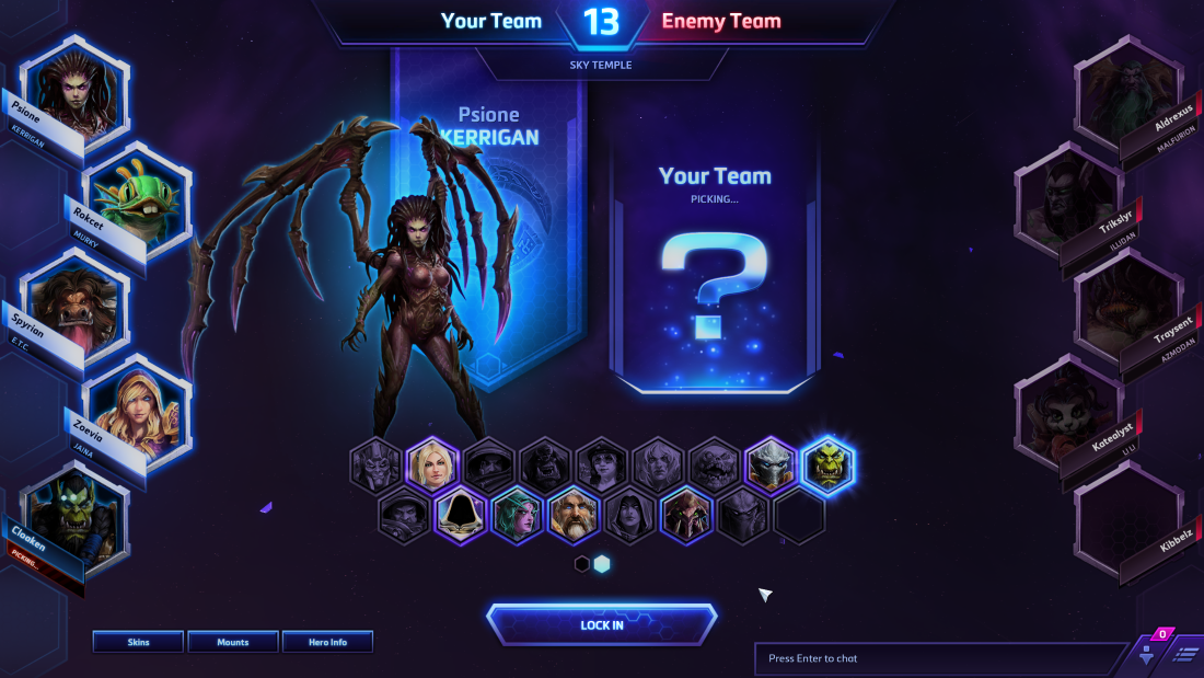 A screenshot from Heroes of the Storm's draft screen