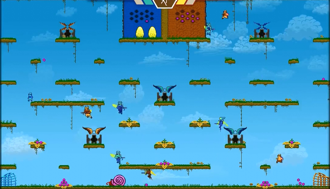 A single-screen 2D platformer level, with small blue and orange characters hopping around.