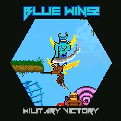 """Blue Wins!"" The game has paused as the final blow is delivered, and screen has shrunk to a small window, captioned ""Military Victory"""