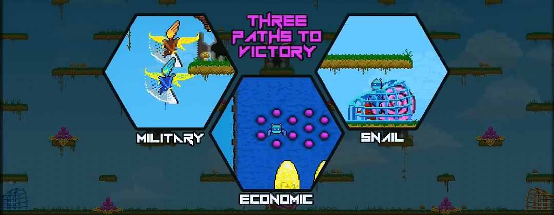 An overlay displays three hexagons, captioned 'Military', 'Economic', and 'Snail'. The hexagons show what each moment of victory looks like.