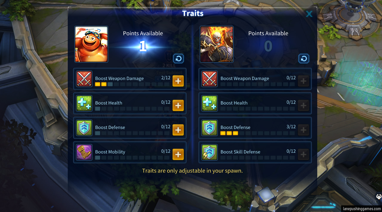 An in-game menu showing two masters and their four (partly distinct) traits, with some points allocated