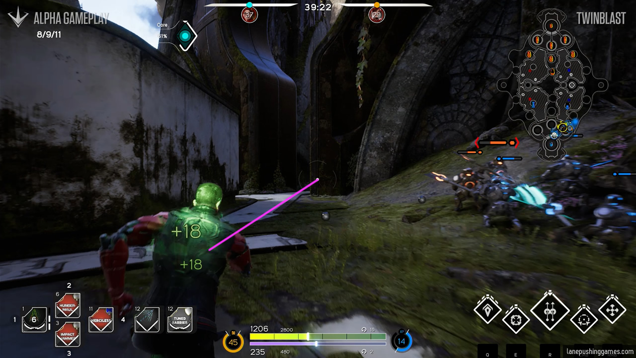 A ranged hero is on the move, and a pink line is drawn between the hero and the targeting reticle at the center of the screen