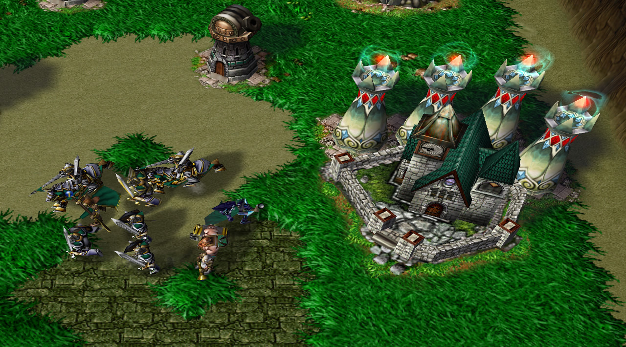 A stone Keep in one team's base has four tall elven-themed towers behind it, while a large wave of troops including mortar teams and knights disembarks the Keep for combat