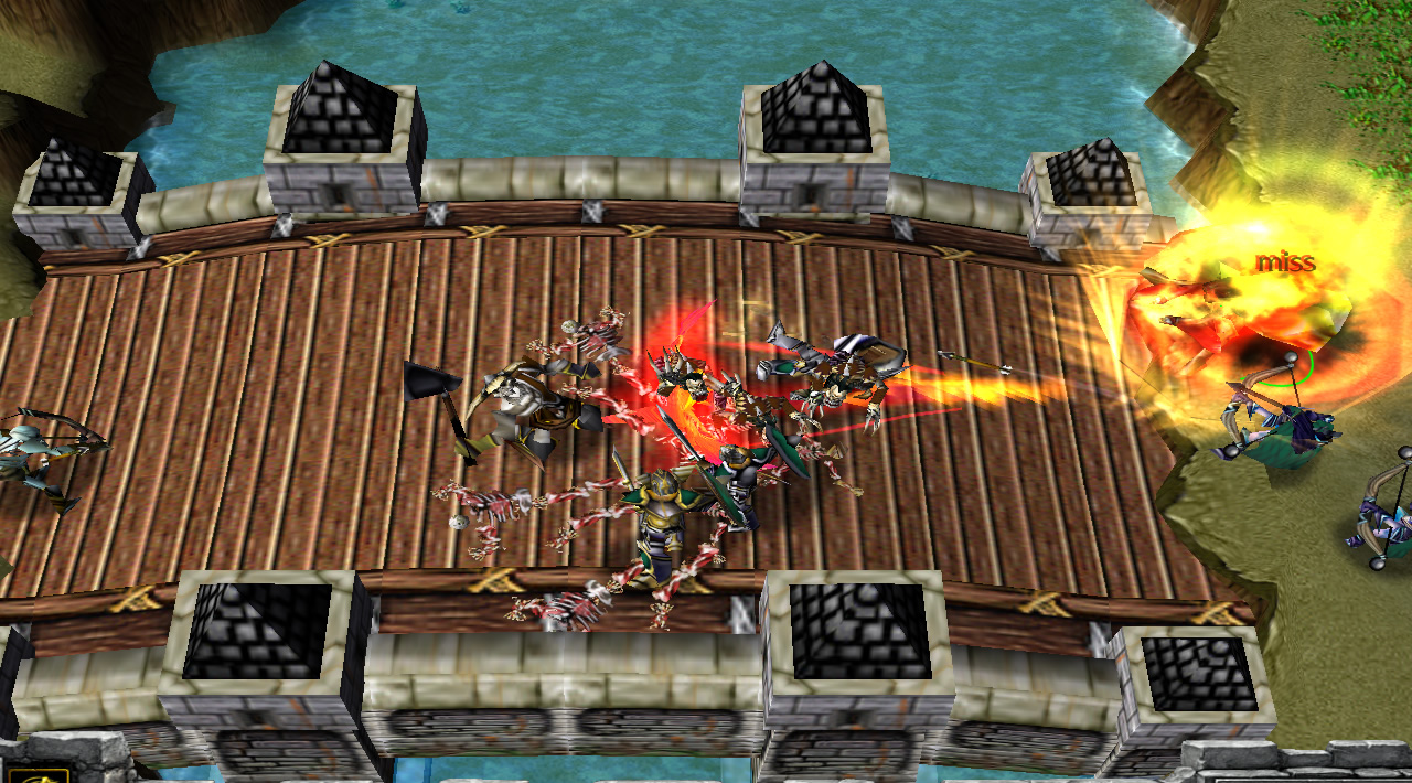 A fiery hero uses a shockwave ability against troops on a wooden bridge