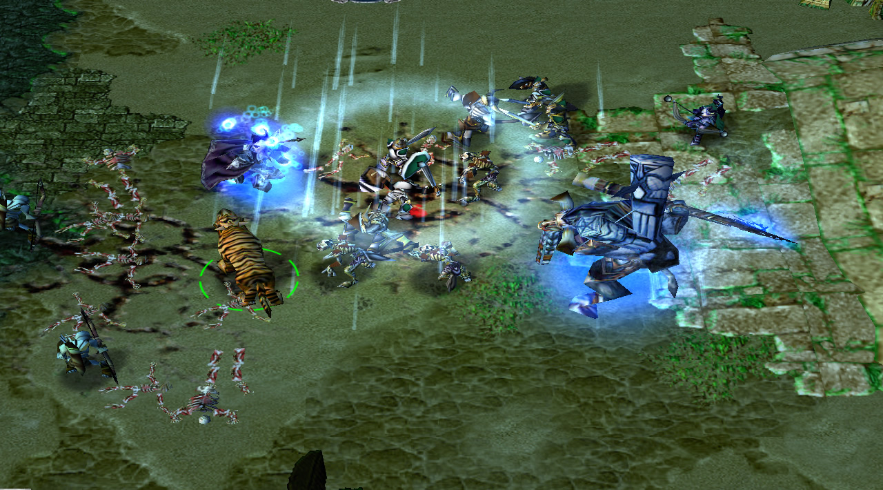 "A large blue tauren hero faces a shimmering blue wizard on-lane. A tiger moves to attack the wizard, and has Warcraft III's special ""shared control"" selection circle beneath it"