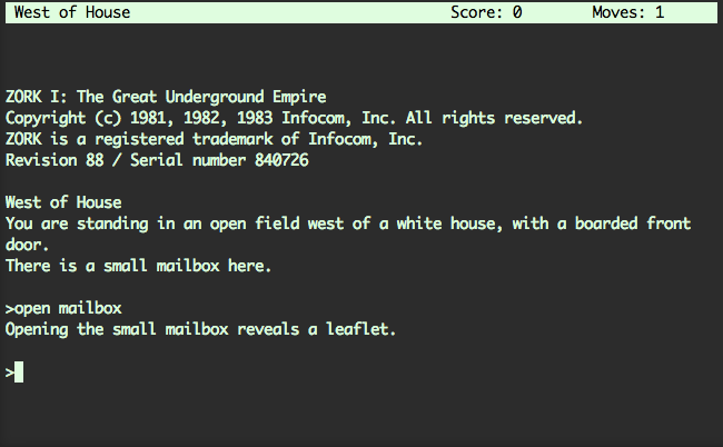 Screenshot of Zork, a text based adventure in a console window. It shows some basic opening dialogue